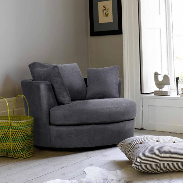 Boyel Living 36 in. Charcoal Fabric Swivel with Toss Pillows Round .
