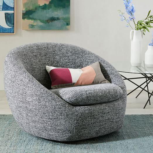 Cozy Swivel Chair, Chunky Melange, Charcoal | Swivel chair .