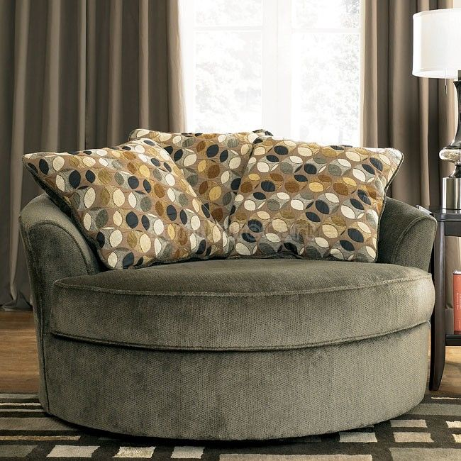 Kirkwood - Charcoal Oversized Swivel Accent Chair | Round swivel .