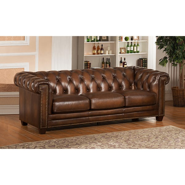 Shop Hickory Brown Leather Chesterfield Sofa and Two Chair Set .
