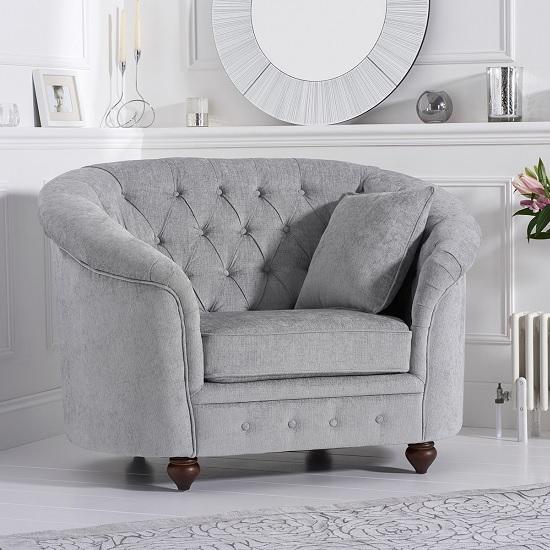 Astoria Chesterfield Sofa Chair In Grey Plush Fabric | Furniture .