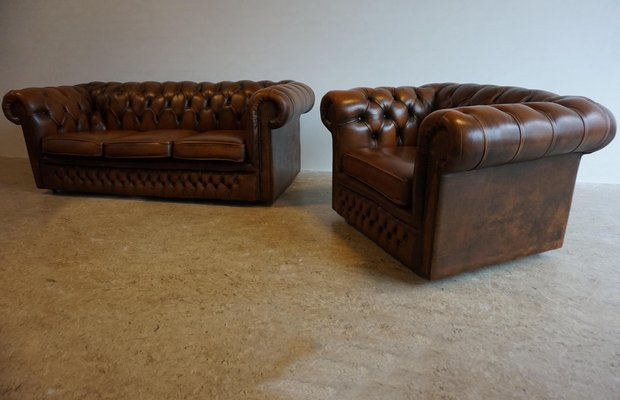 Vintage English 3-Seater Chesterfield Sofa and Armchair Set, 1980s .