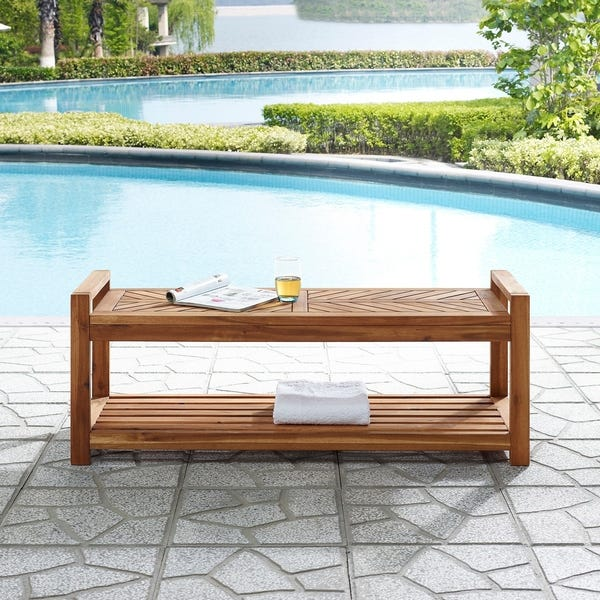 Shop Elephant Point 48-inch Outdoor Chevron Bench by Havenside .