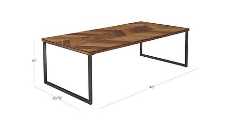 """Image with dimension for chevron 48"""" coffee table 