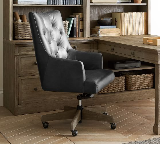 Radcliffe Leather Desk Chair Rustic Brown Base, Legacy Chocolate .