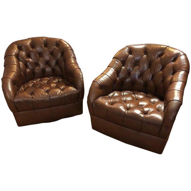 Ward Bennett Mid-Century Modern Tufted Leather Swivel Club Chairs .