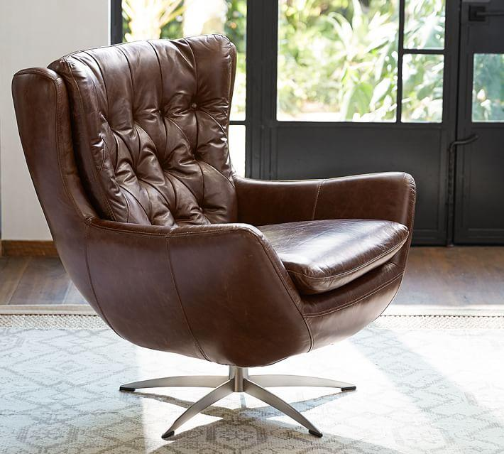 Wells Brown Tufted Leather Swivel Armcha