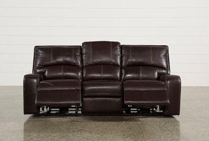 Clyde Dark Brown Leather Power Reclining Sofa W/Power Headrest .