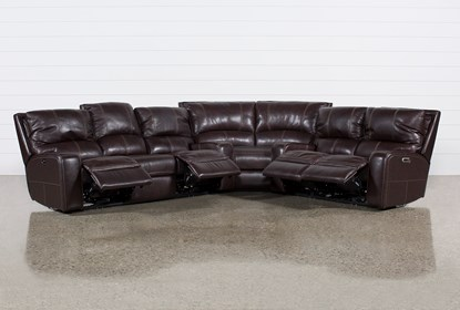 Clyde Dark Brown 3 Piece Power Reclining Sectional W/Pwr Hdt & Usb .