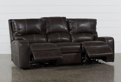 Clyde Grey Leather Power Reclining Sofa W/Power Headrest & Usb .