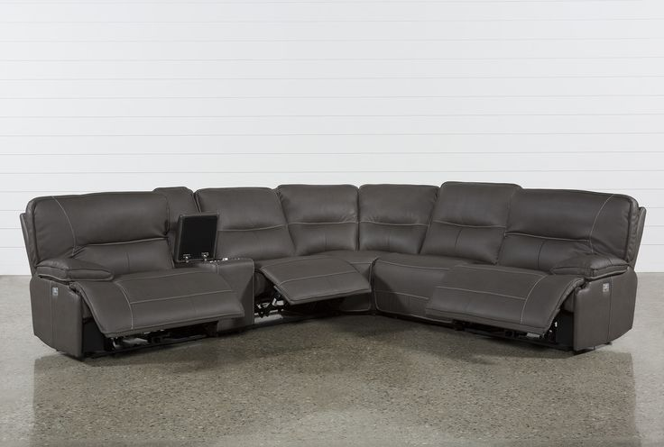 Clyde Saddle 3 Piece Power Reclining Sectional W/Power Hdrst & Usb .