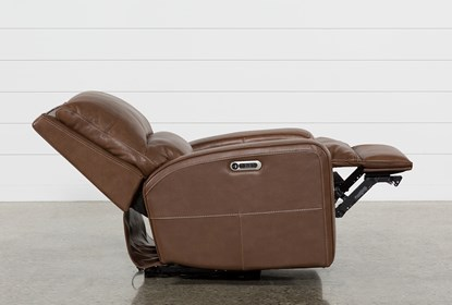 Clyde Saddle Leather Power Recliner W/Power Headrest And Usb .