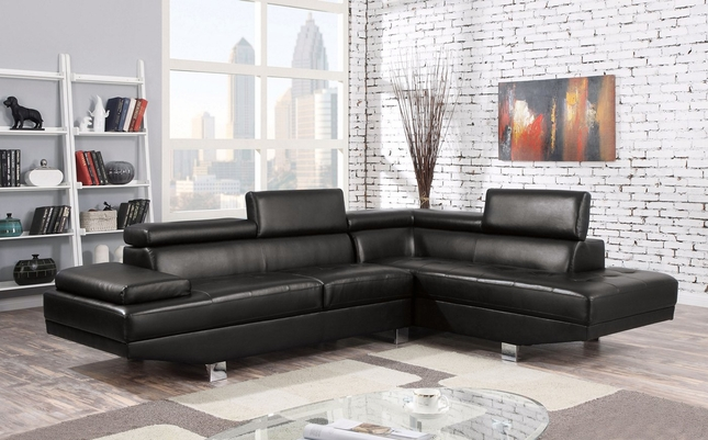 Collin Modern Adjustable Sectional Sofa w/ Chaise in Black Bonded .