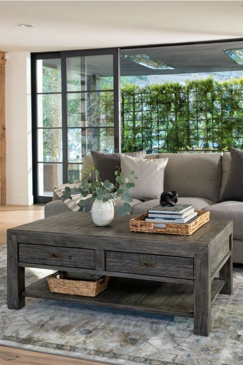 Reclaimed wood coffee table with storage. This cocktail table .