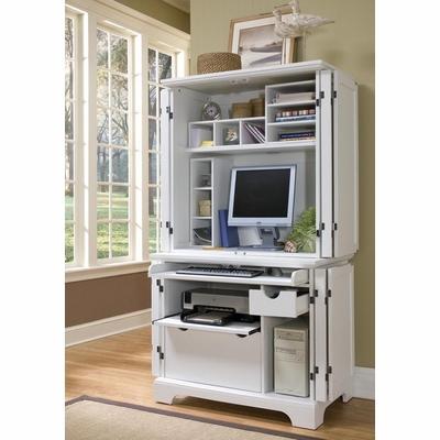 Home Styles Naples White Compact Computer Desk & Hutch - 5530-190 .