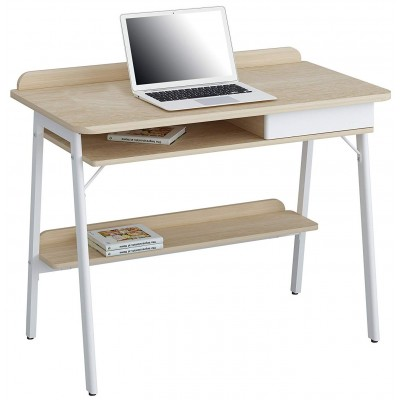 Compact Computer Desk White and Oak Aspect - Computer Desks .