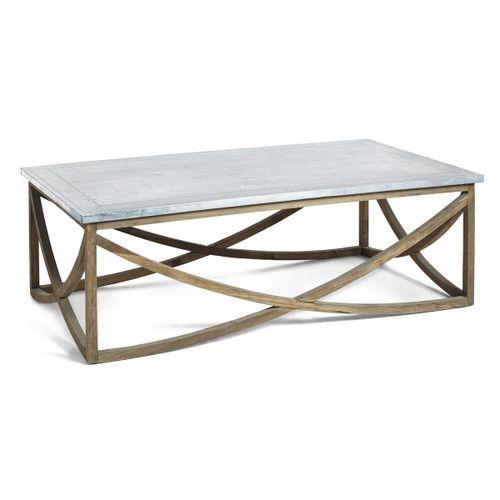 Contemporary Curves Coffee Table | Modern Elm Wood Base Zinc .