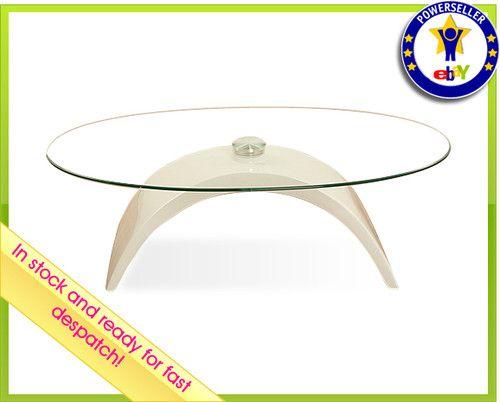 MODERN CONTEMPORARY RETRO DESIGNER CURVE COFFEE TABLE GLASS WHITE .