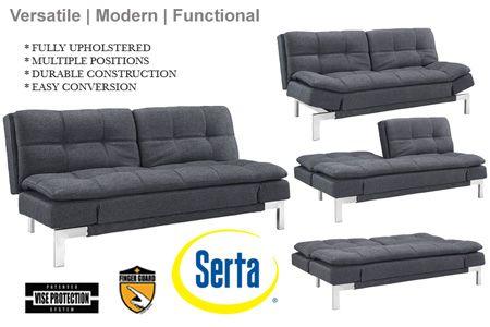 Simple Modern Futon Sofa Bed Grey   Boca Futon  The Futon Sh