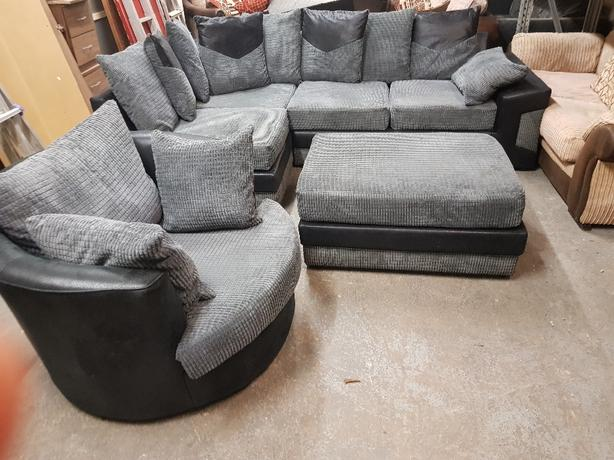 corner sofa and puff and swivel chair Coseley, Wolverhampt