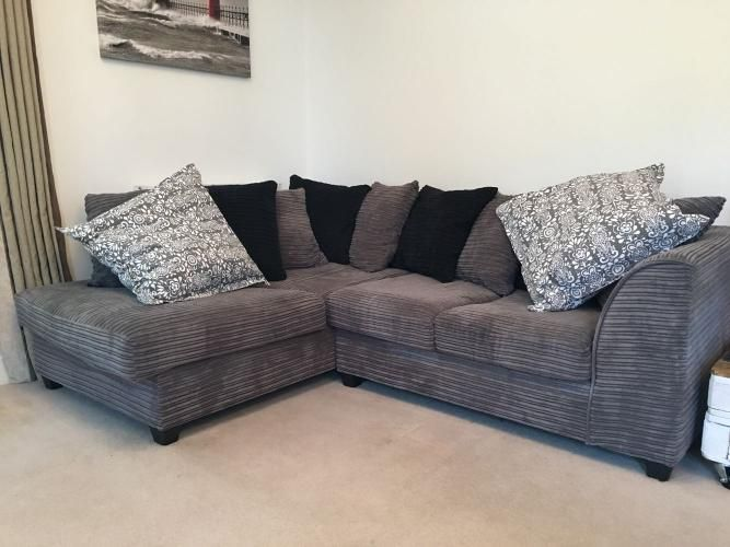 Grey corner sofa with matching swivel chair and footstool For Sale .