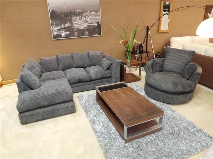 Dylan Jumbo Cord Charcoal Grey Dark Grey Corner Sofa w Matching .