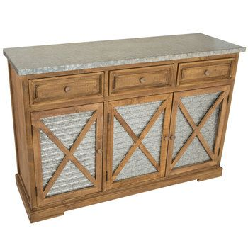 Corrugated Farmhouse Wood Cabinet | Metal cabinet, Wood cabinets .
