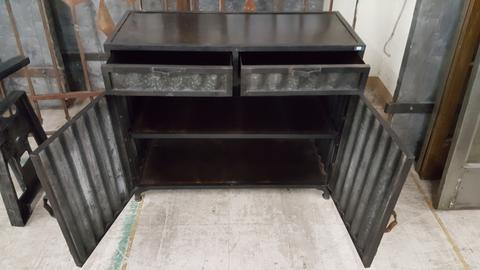 Industrial Corrugated Metal and Black Iron Sideboard – Antiquities .