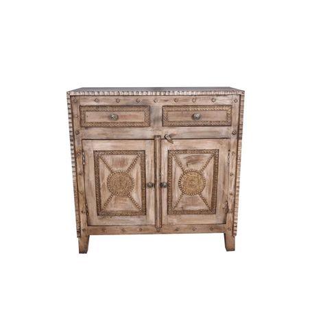 Rustic Booker Two Door Wooden Accent Cabinet for Living Room .