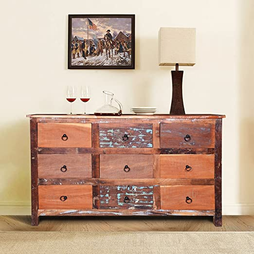 Amazon.com: Wooden Nine Drawer Chest for Living Room, Storage .