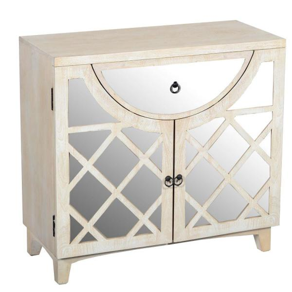 The Urban Port Beige Mango Wood Cabinet with Mirrored Look Steel .