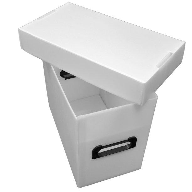 10 Premium Plastic Magazine Storage Boxes - White - Archival Safe .