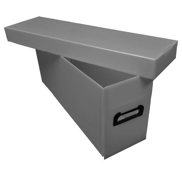 2 Max Pro Premium Plastic Long Comic Book Storage Boxes - Gray .
