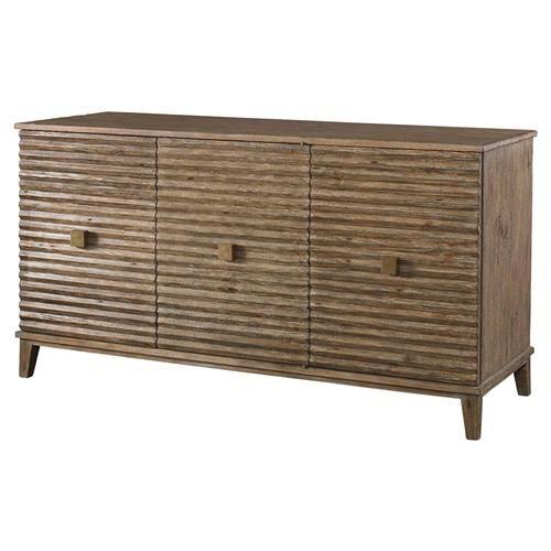 Mr. Brown Belmont Modern Classic Rustic Pine Corrugated Sideboard .