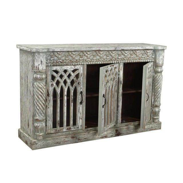 Industrial Leona Three Door Wooden Sideboard, Dining Buffet .