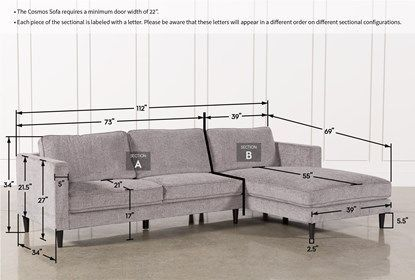Cosmos Grey 2 Piece Sectional Sofa with Right Arm Facing Chaise .