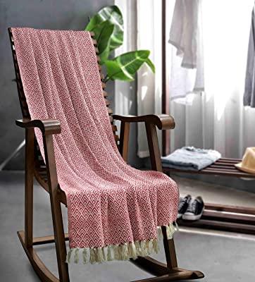 Amazon.com: CRAFKART Cotton Throw Blanket 65x50 - Red Beautifully .