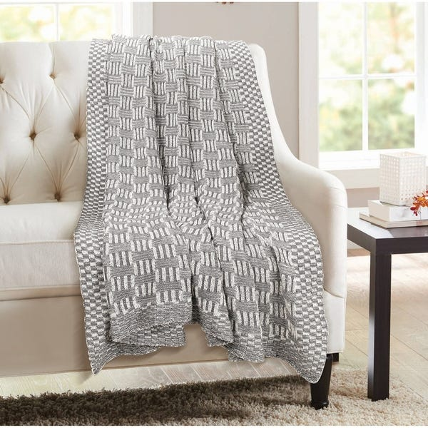 Shop Glamburg 100% Cotton Knitted Throw Blanket 50x60 for Couch .