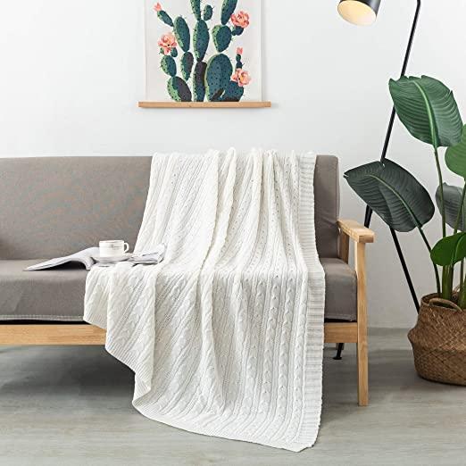 Amazon.com: FELIX ANGELA HOME 100% Cotton Knitted Throw, Soft .