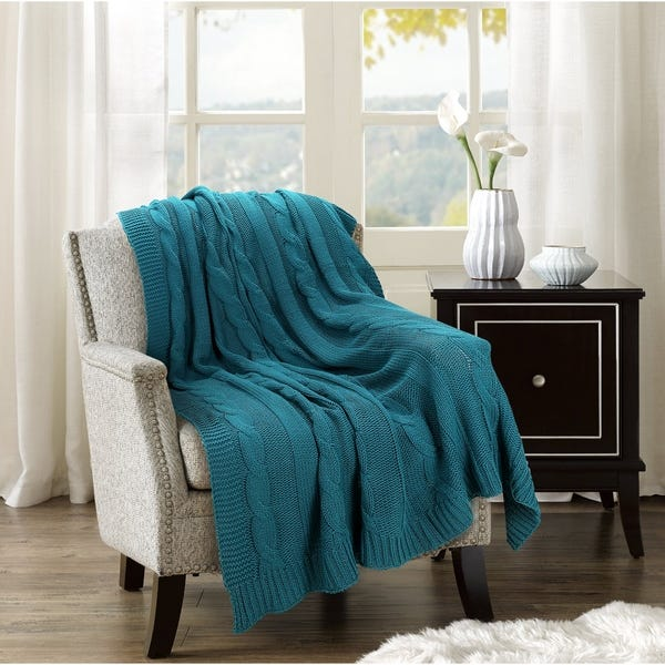 Shop Glamburg All Season Cable Knit Throw Blanket 50x60 for Couch .