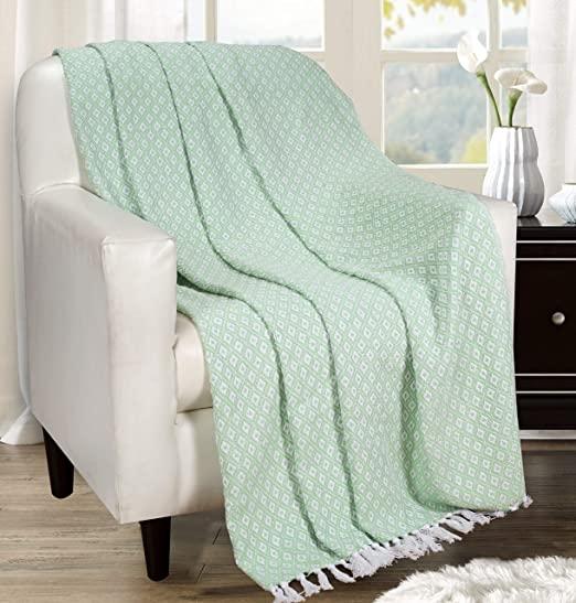 Amazon.com: Throw Blanket with Fringes in Mini Diamond Design .