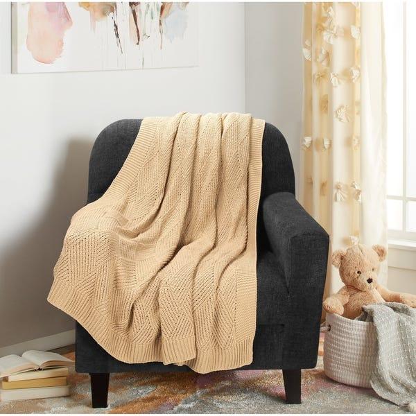 Shop Glamburg Knit Diamond Pattern Cotton Throw Blanket 50x60 for .