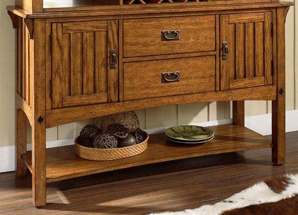 Craftsman Server Sideboard-Medium Brown Oak   Sideboards and Serve