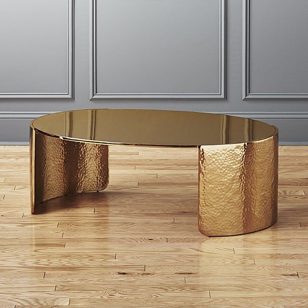 Cuff Hammered Gold Coffee Table | CB2 | Gold coffee table .