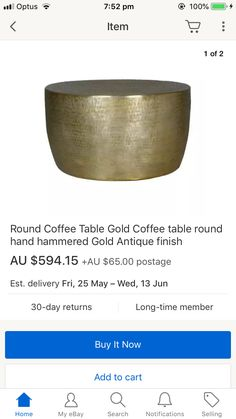 Hammered metal coffee table, gold antique finish | Gold coffee .