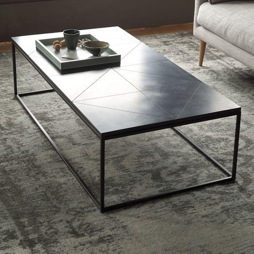Etched Granite Coffee Table in Bla