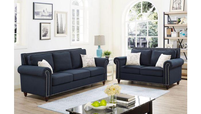 Trevino Dark Blue Linen Sofa S