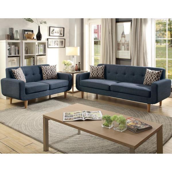 Venetian Worldwide Trentino 2-Piece Dark Blue Sofa Set VENE-F6526 .