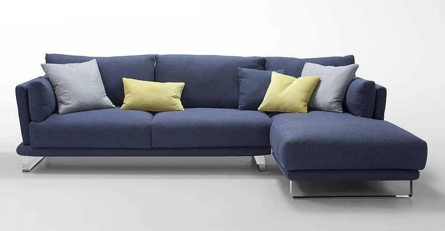 Modern Dark Blue Fabric Sectional Sofa - Lucas | Fabric Sectional .
