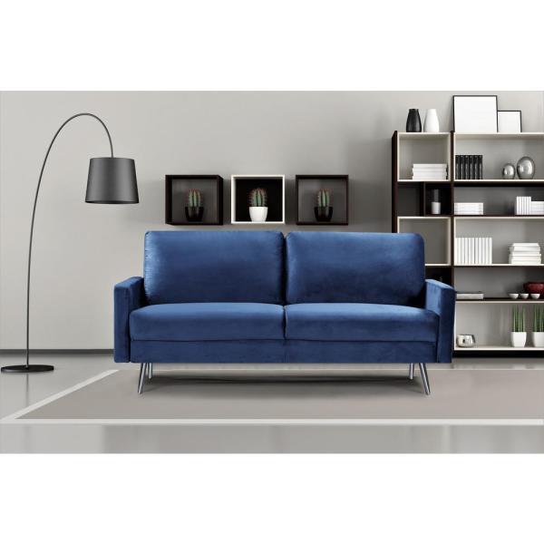 US Pride Furniture Dark Blue Ashley Velvet Fabric Sofa S5542-S .